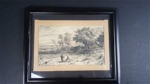 ORIGINAL CHARCOAL SKETCH EXQUISITE SCENE