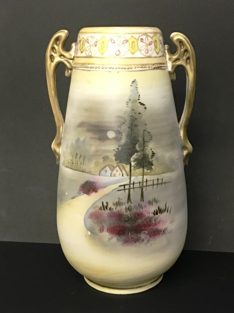 HAND PAINTED NIPPON VASE EVENING COUNTRY ROAD
