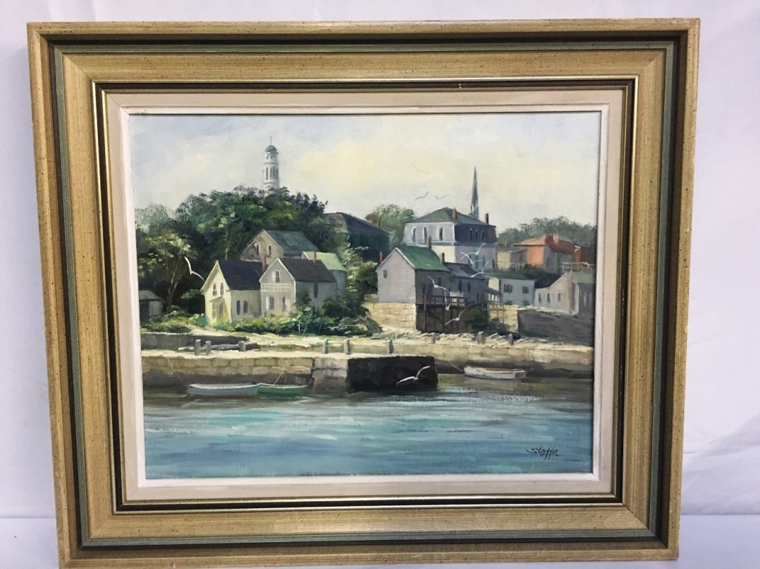 OIL ON CANVAS BY MICHAEL STOFFA(1923-2001) WATERFRONT