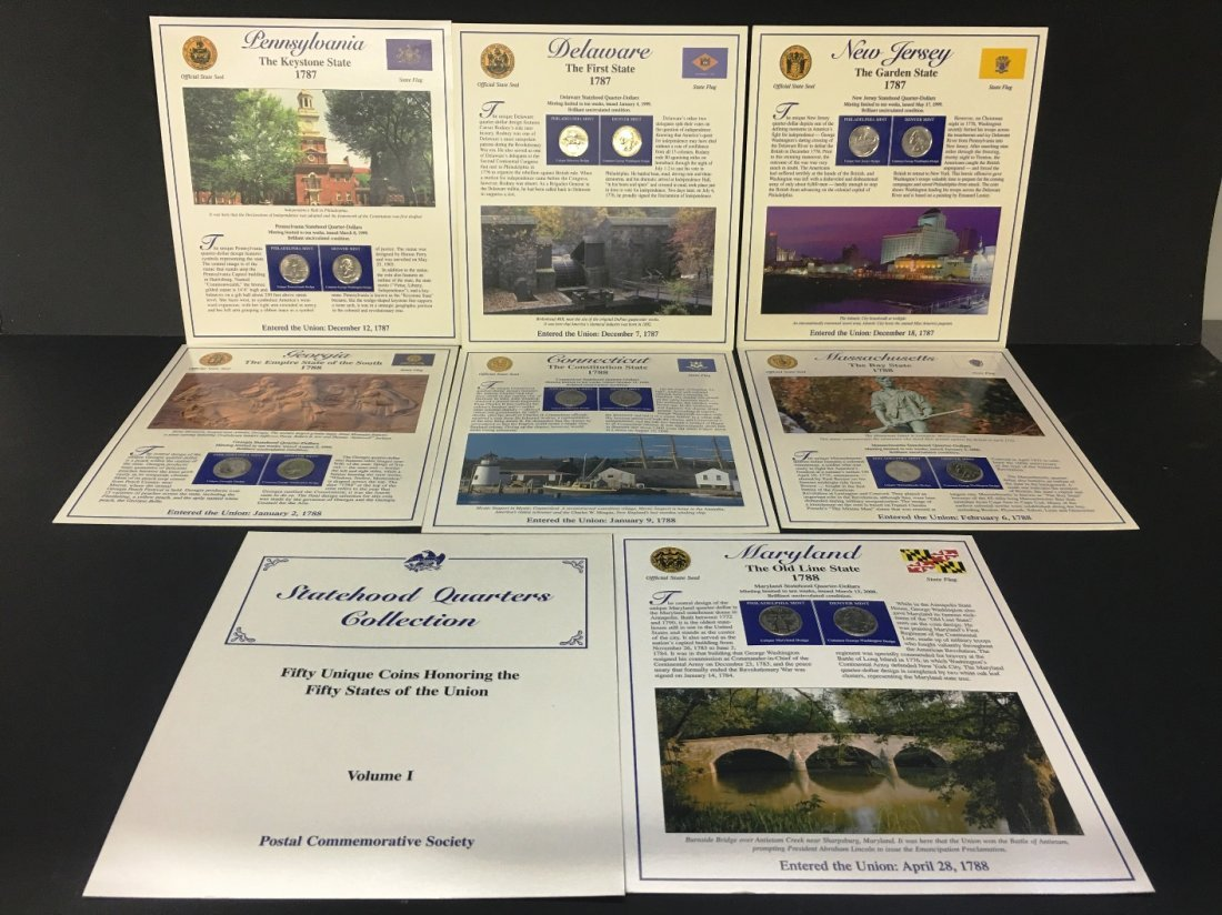 P & D MINT STATE QUARTERS AND STAMP COLLECTOR CARDS