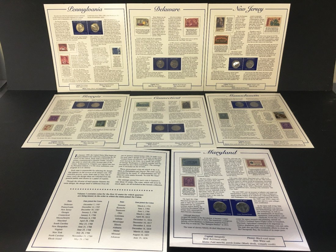 P & D MINT STATE QUARTERS AND STAMP COLLECTOR CARDS - 2