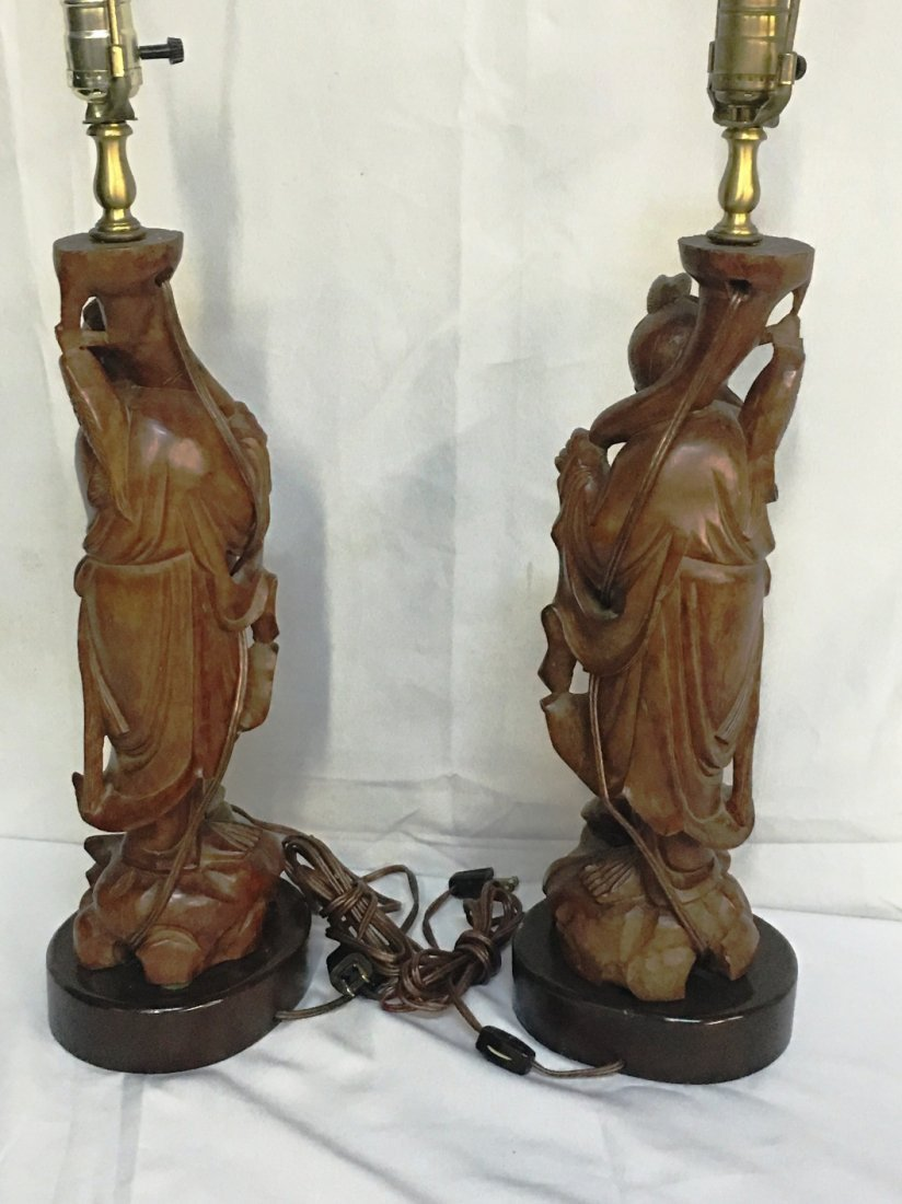 PAIR WOOD CARVED ASIAN IMMORTAL LAMPS - 2