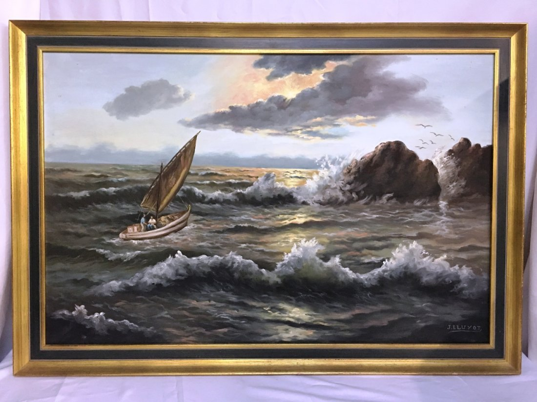 OIL ON CANVAS BY J. ILUYOT SAILBOAT