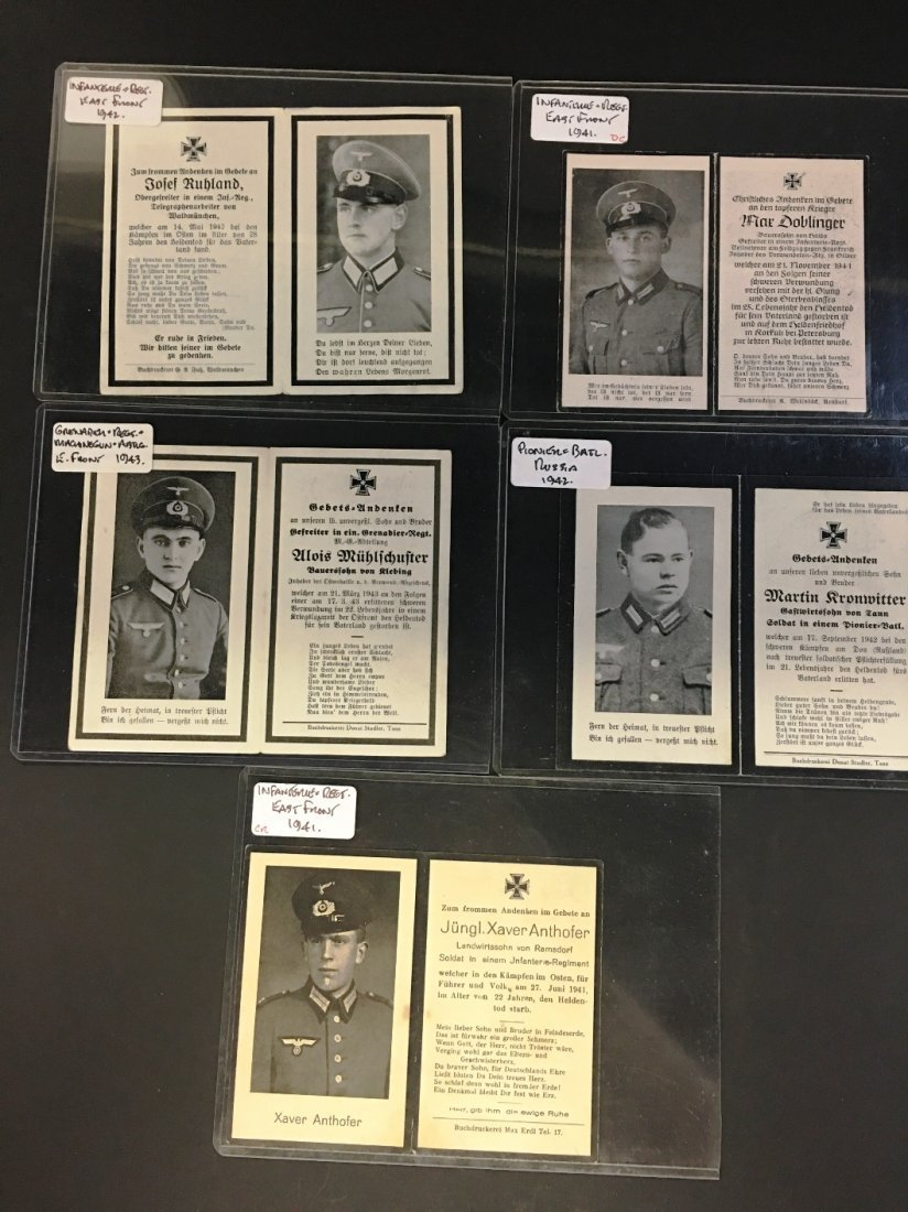 LOT OF 5 WWII GERMAN MILITARY DEATH CARDS
