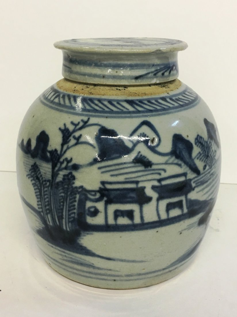 BLUE AND WHITE IRONSTONE GINGER JAR CHIP ON LID
