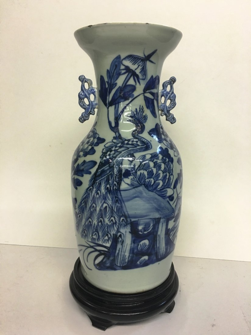 BLUE AND WHITE CELEDON VASE WITH PEACOCK MOTIF WITH