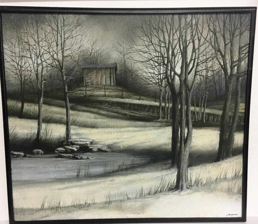 OIL ON CANVAS BY L. BOGGESS DEAD OF WINTER