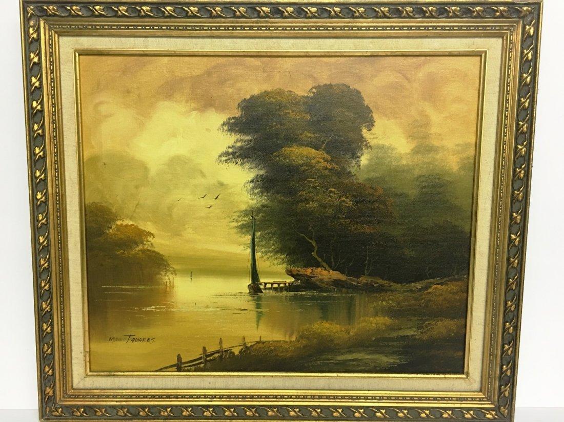 OIL ON CANVAS BY MARIO TAVARES SAILBOAT