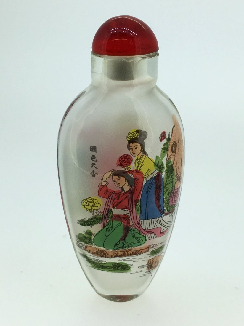 REVERSE PAINTED SIGNED GLASS SNUFF BOTTLE RED TOP