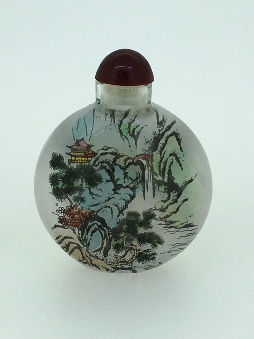 REVERSE PAINTED OVATE SNUFF BOTTLE - 2