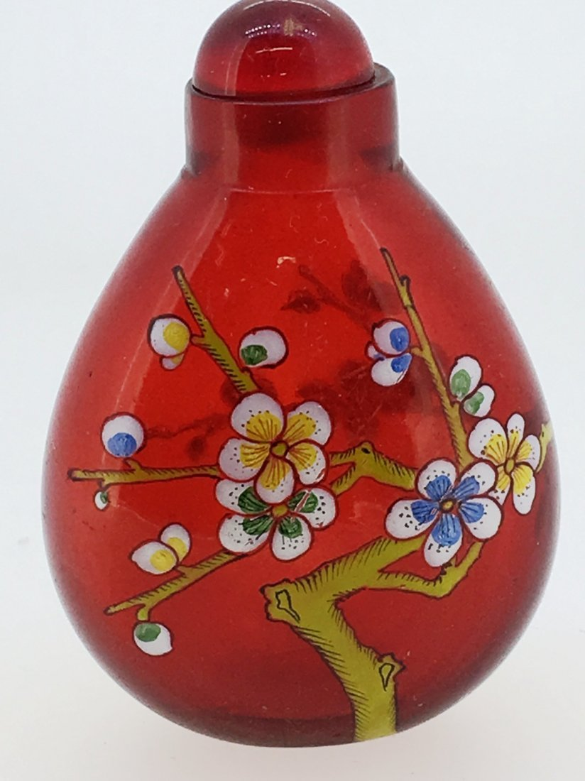 RED GLASS HAND PAINTED FLORAL SNUFF BOTTLE