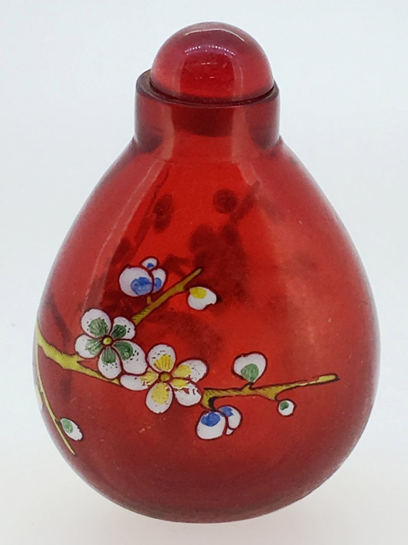 RED GLASS HAND PAINTED FLORAL SNUFF BOTTLE - 2