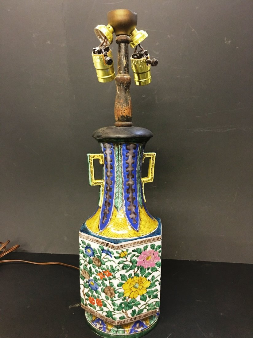 ORIENTAL HANDLED VASE LAMP MARKED