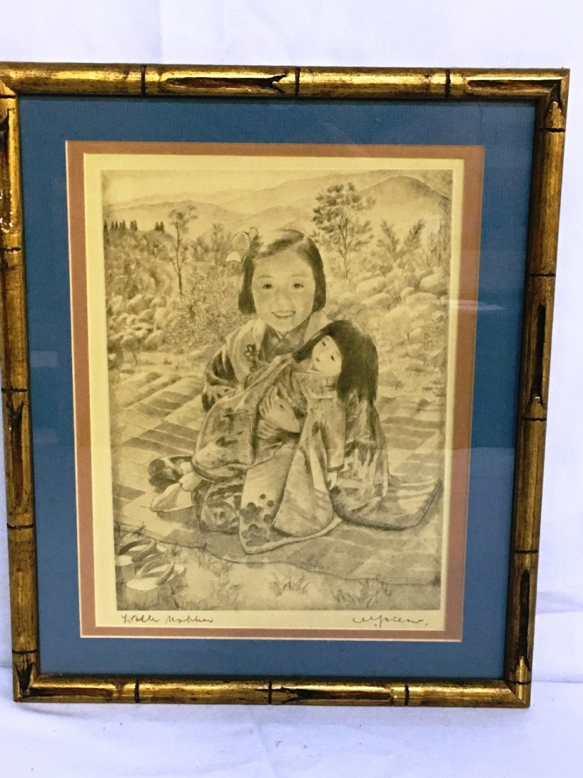 CHARCOAL OF CHILD WITH DOLL SIGNED