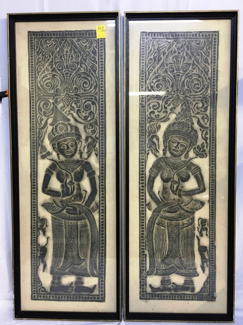 PAIR OF TEMPLE RUBBINGS OF SITA