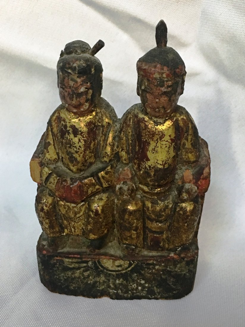 ROYAL COUPLE MING WOOD CARVING C.17th Century