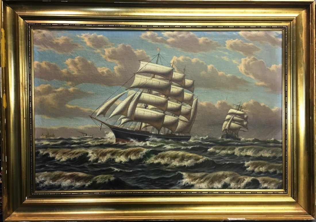 CHINESE TRADE ROUTE SHIP PAINTING