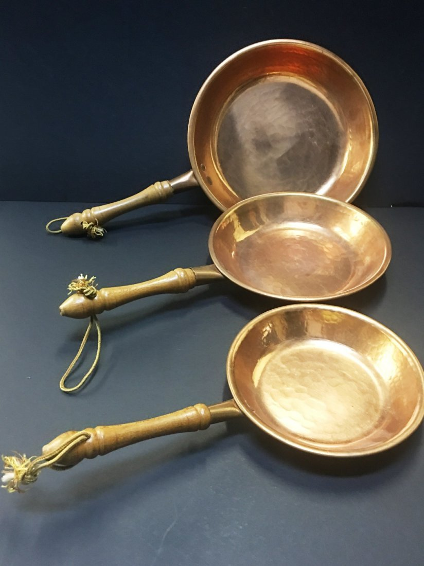 3 COPPER SKILLETS/PANS W/WOODEN HANDLES