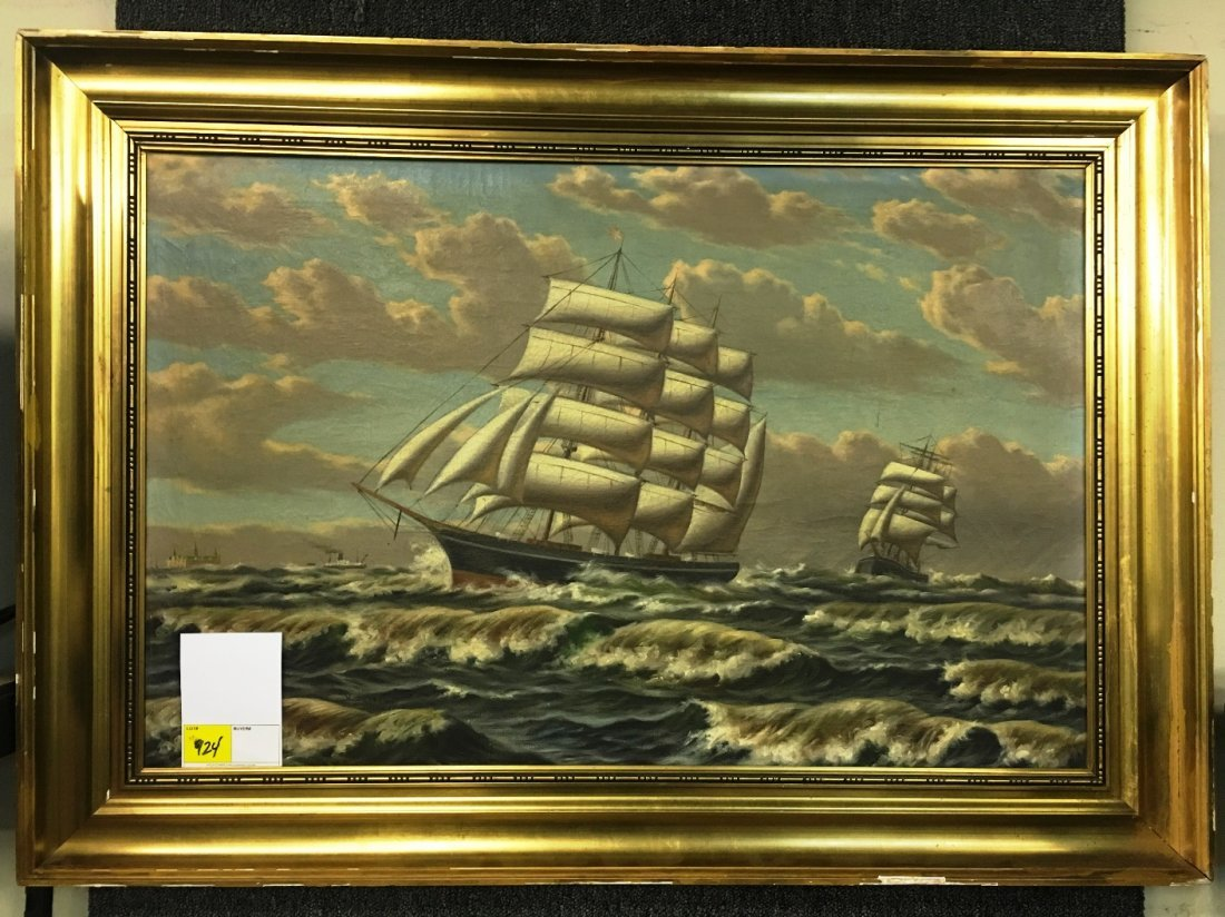 OIL ON CANVAS, CHINESE TRADE ROUTE PAINTING
