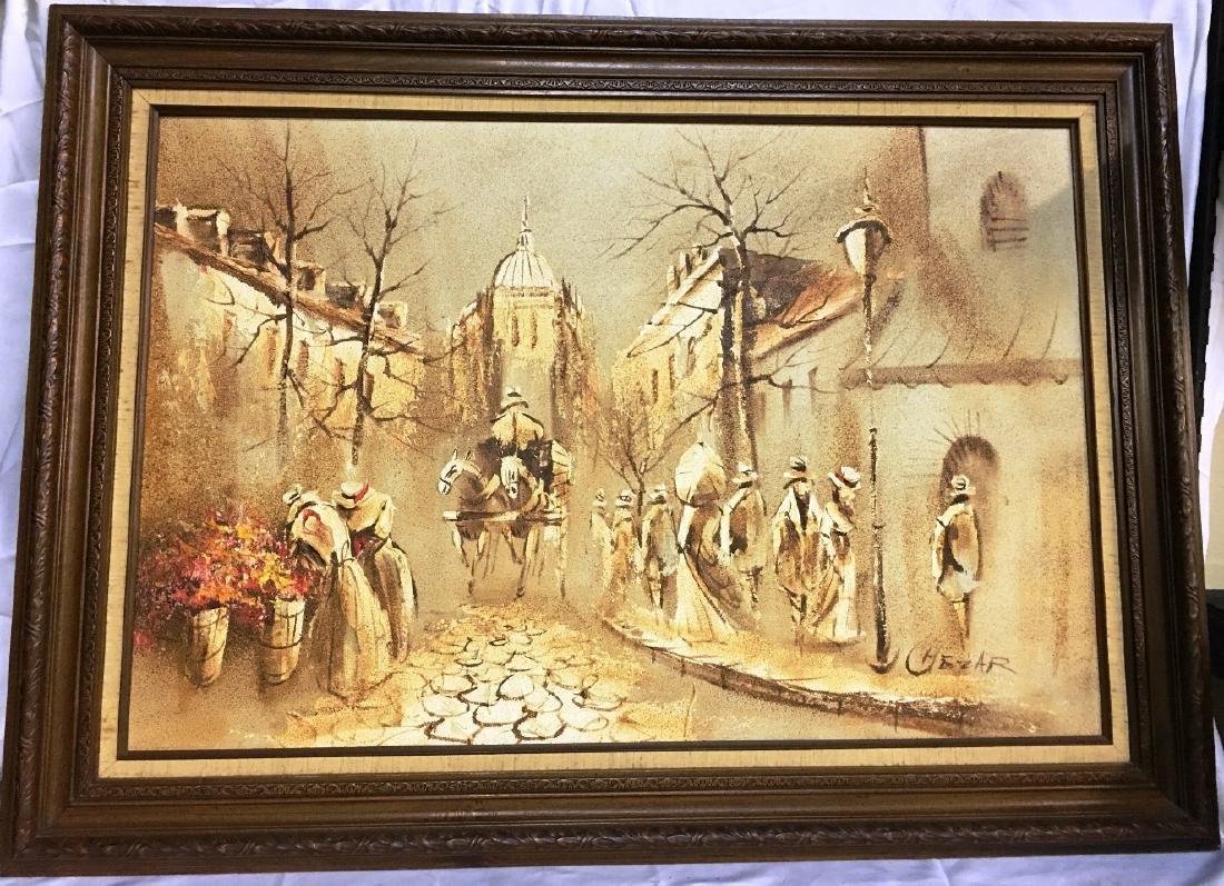 PARISIAN STREET SCENE BY BORIS CHEZAR 44x32
