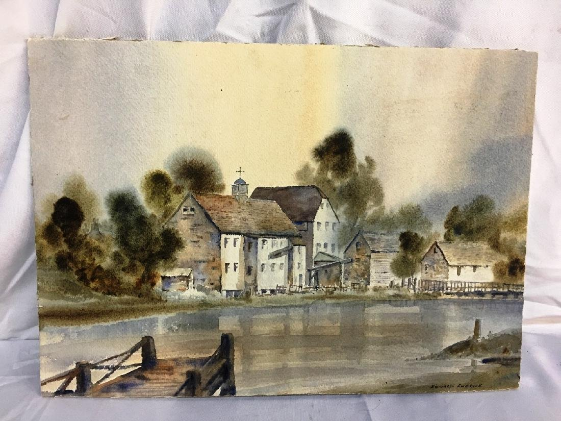 WATER COLOR COTTAGE W/ DOCK SIGNED EDWARD EMERSON