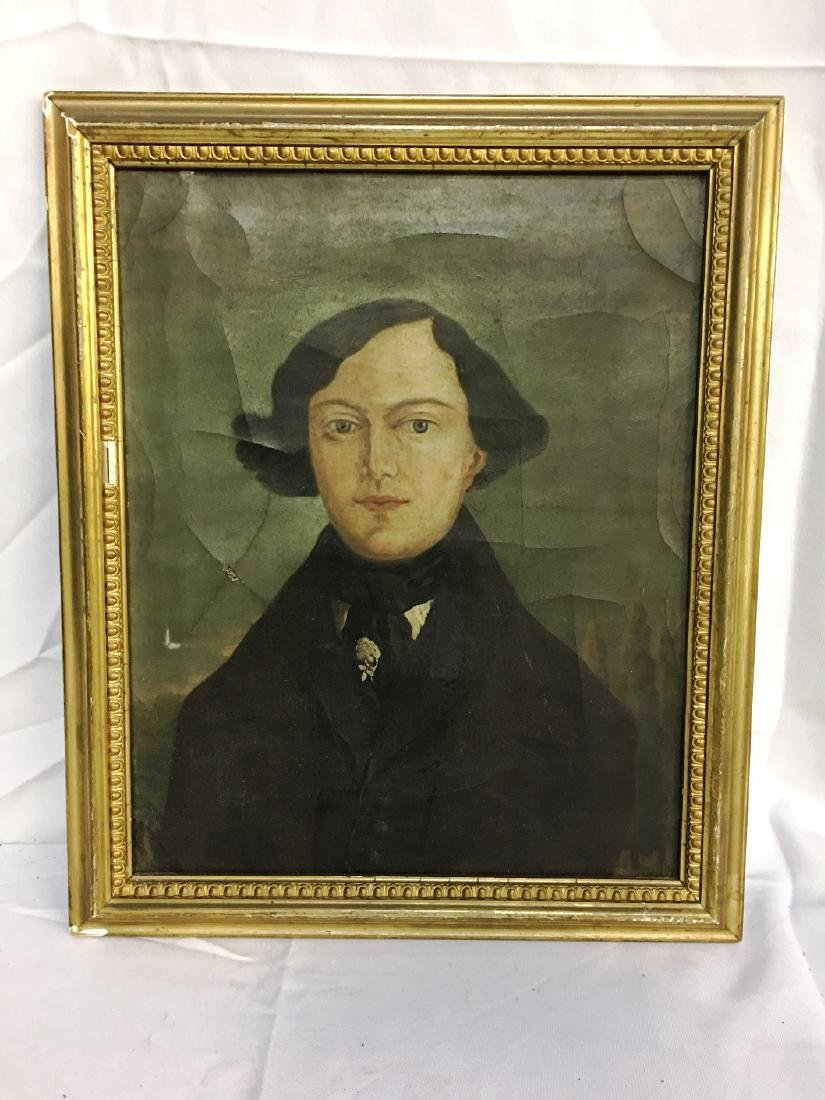 OIL ON CANVAS EARLY AMERICAN PORTRAIT