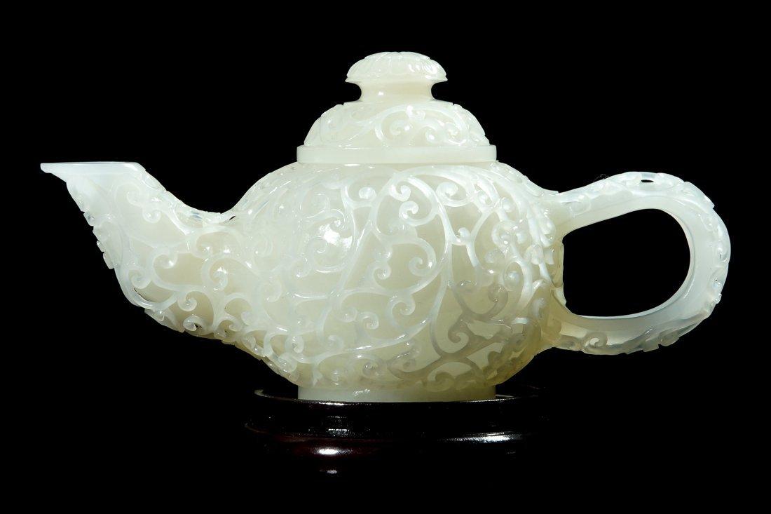 1:  Chinese Sinkiang White Jade Hollow Sculpture Teapot