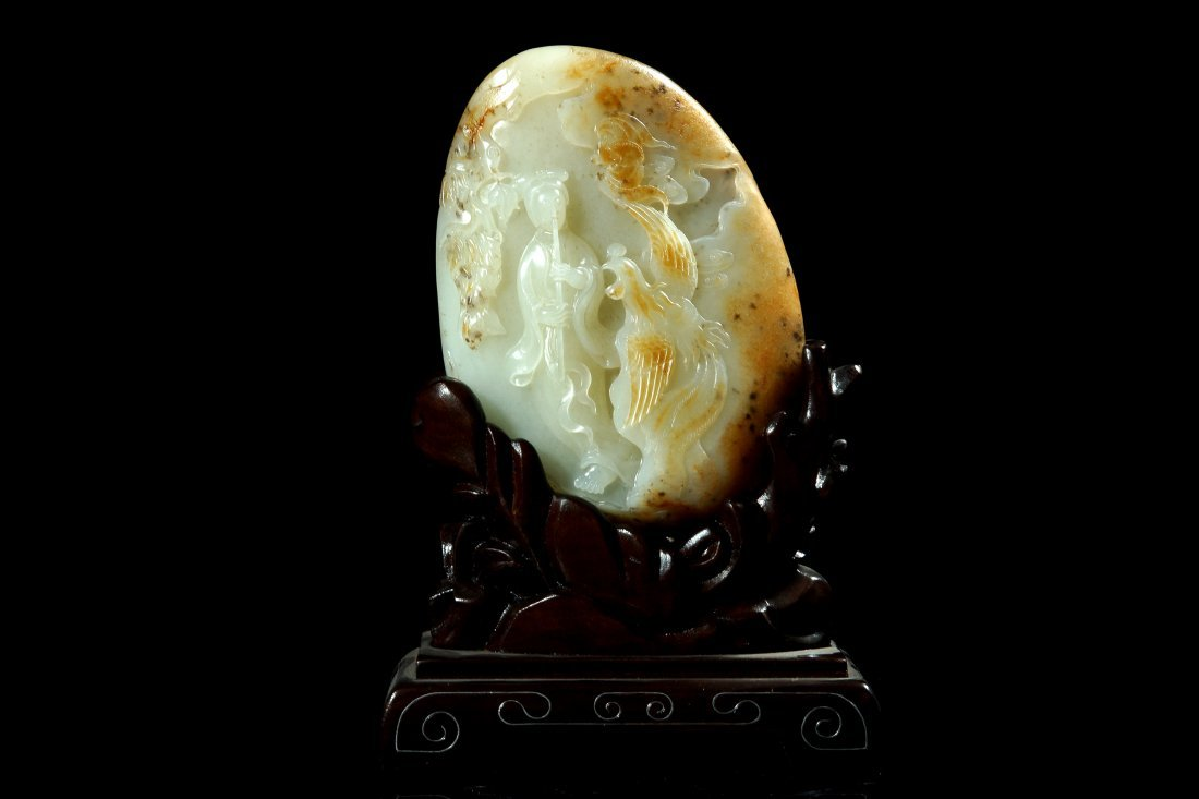 4: A Sinkiang Chinese white jade flute cited phoenix