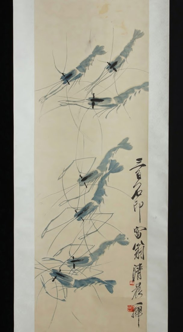 9: Chinese Scroll Painting by Qi Baishi