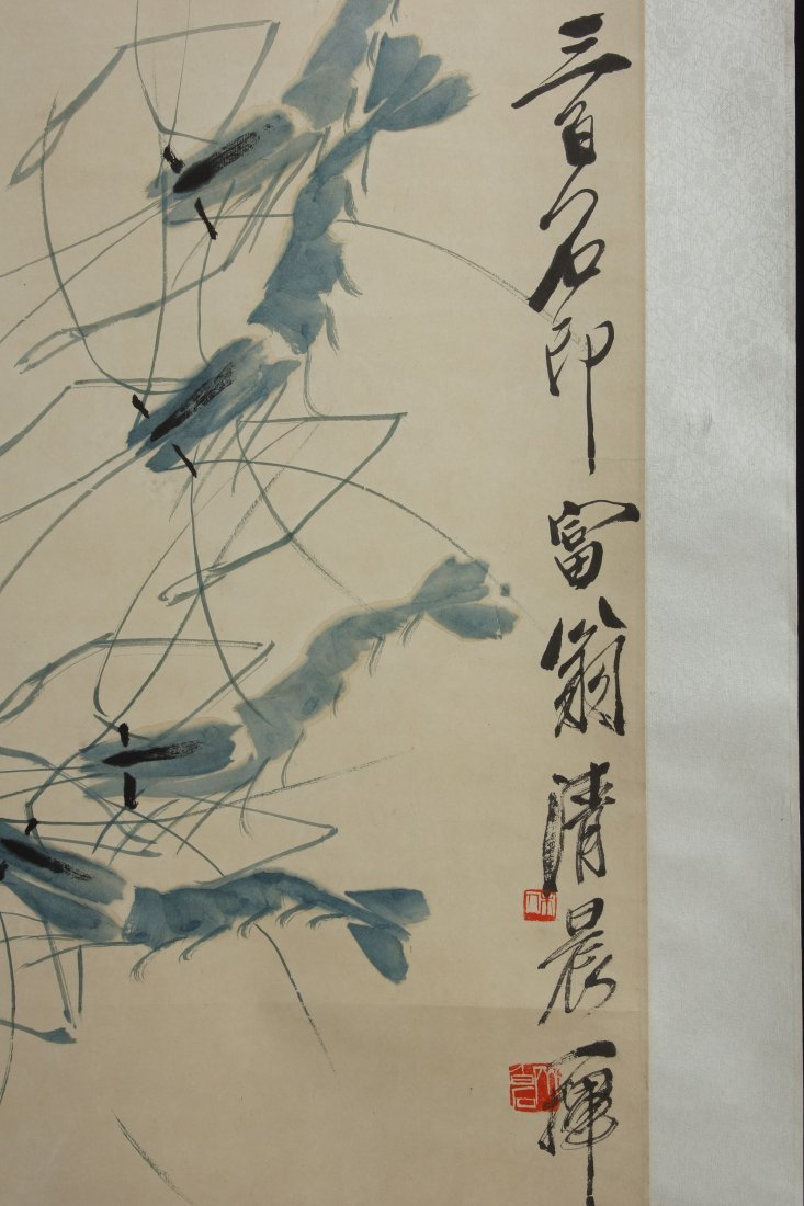 9: Chinese Scroll Painting by Qi Baishi - 3