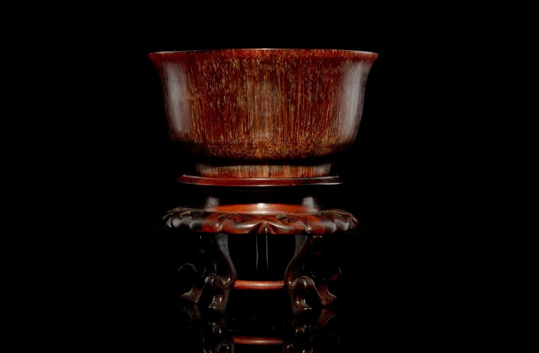 4: 19th C Chinese  Carved Horn Bowl