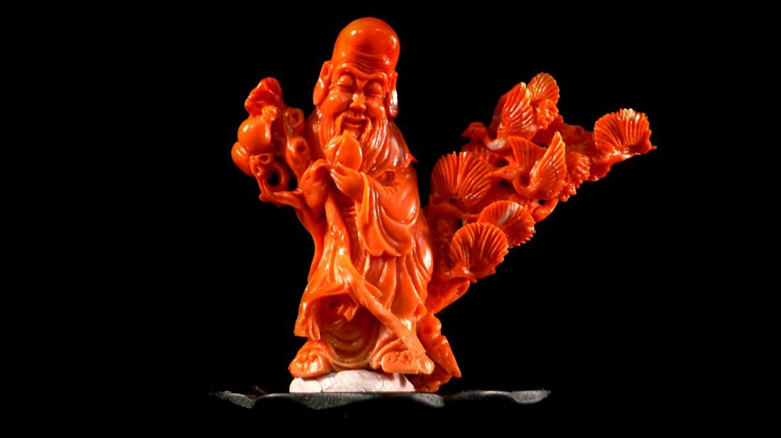 1: Vintage Chinese Carved Red Coral Decoration