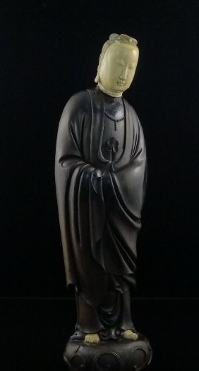 Antique Chinese Sandalwood(Zitan) inlay Ivory Guanyin