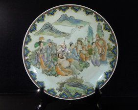 9: Chinese Famille Rose Porcelain Big Plate Decoration