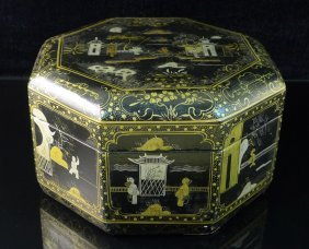 21: Antique Chinese Octagon Lacquer Gilt Box