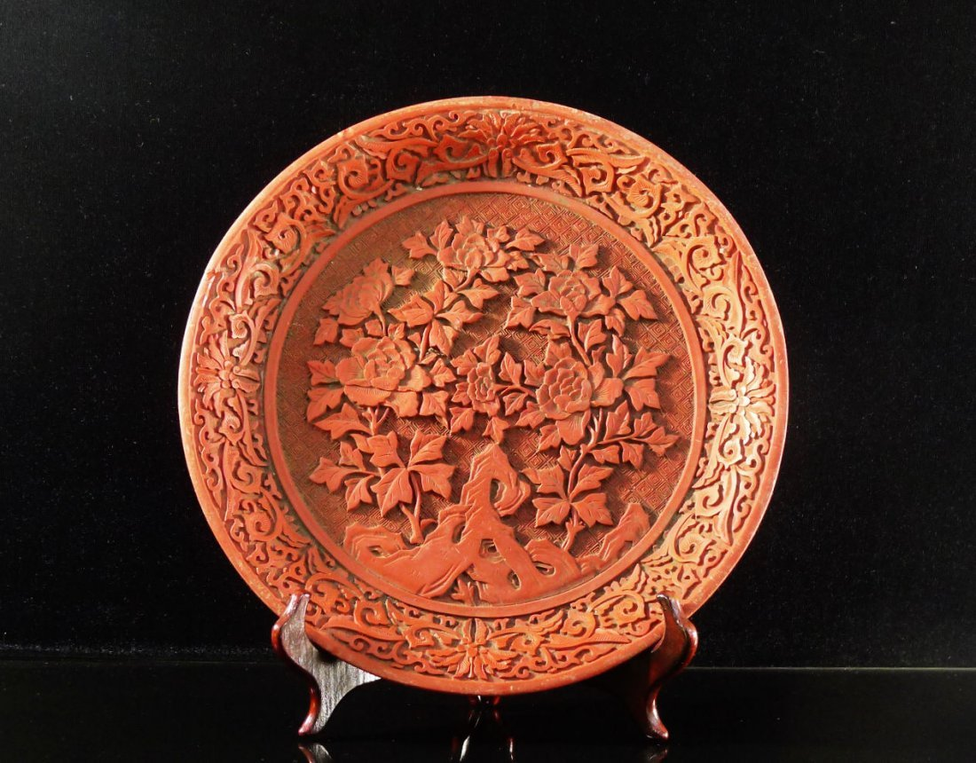 23: Antique Chinese Cinnabar Lacquerware Plate