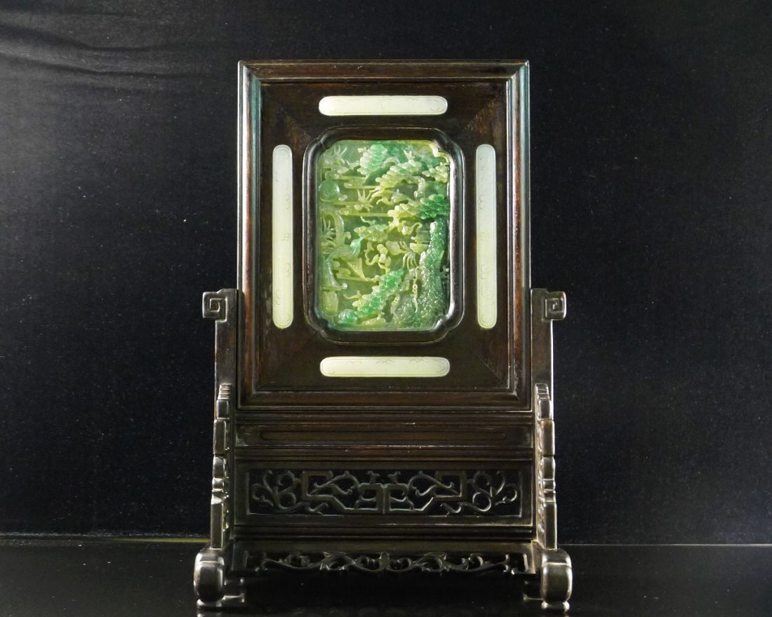 45: Chinese White Jade/Jadeite Hardwood Table Screen