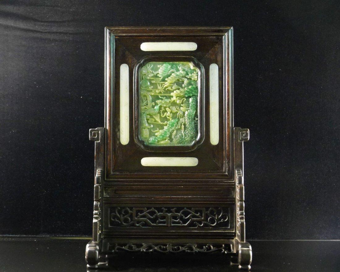 45: Chinese White Jade/Jadeite Hardwood Table Screen - 2