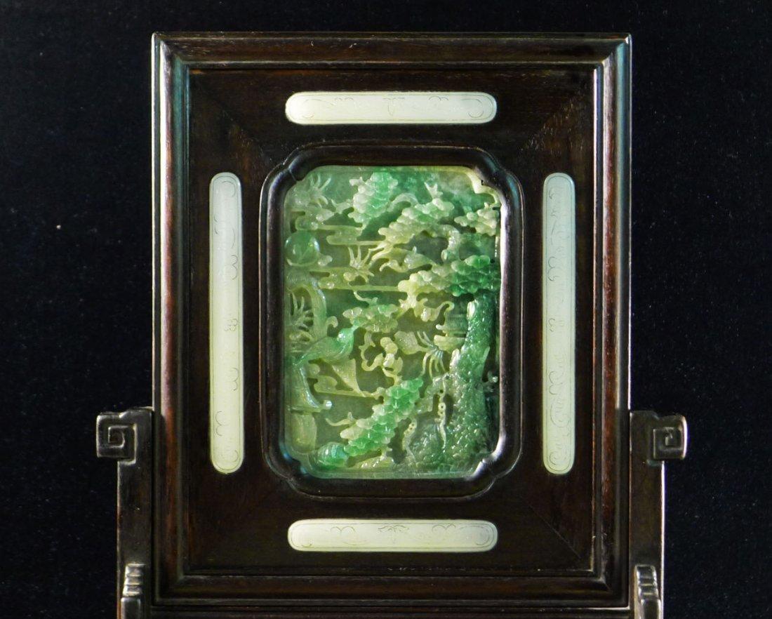 45: Chinese White Jade/Jadeite Hardwood Table Screen - 3