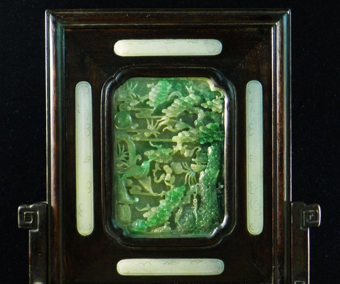 45: Chinese White Jade/Jadeite Hardwood Table Screen - 4