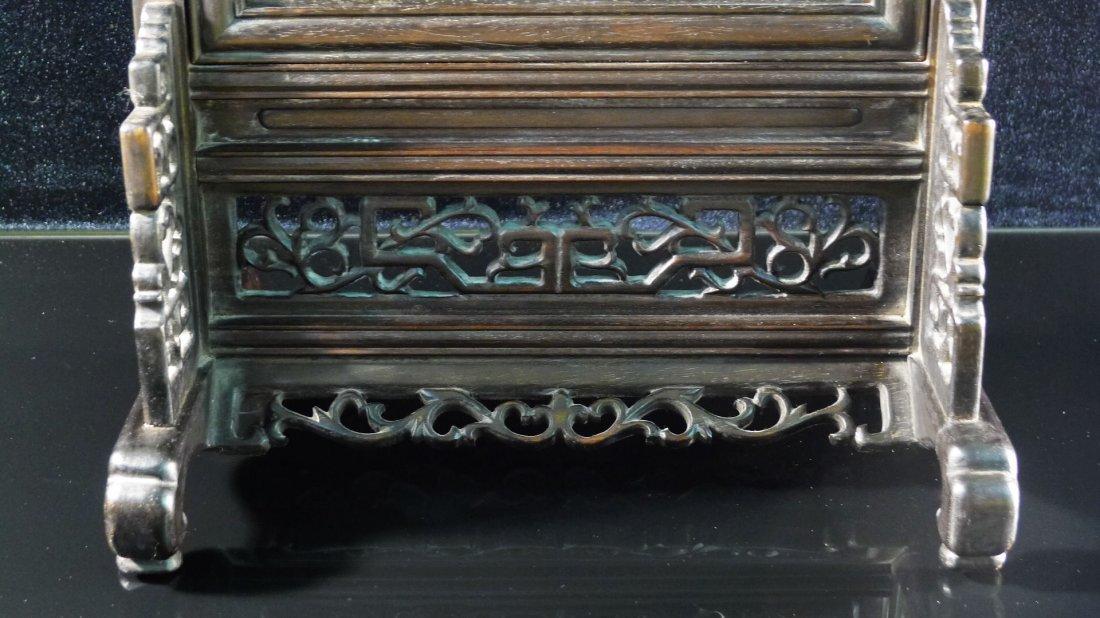 45: Chinese White Jade/Jadeite Hardwood Table Screen - 5