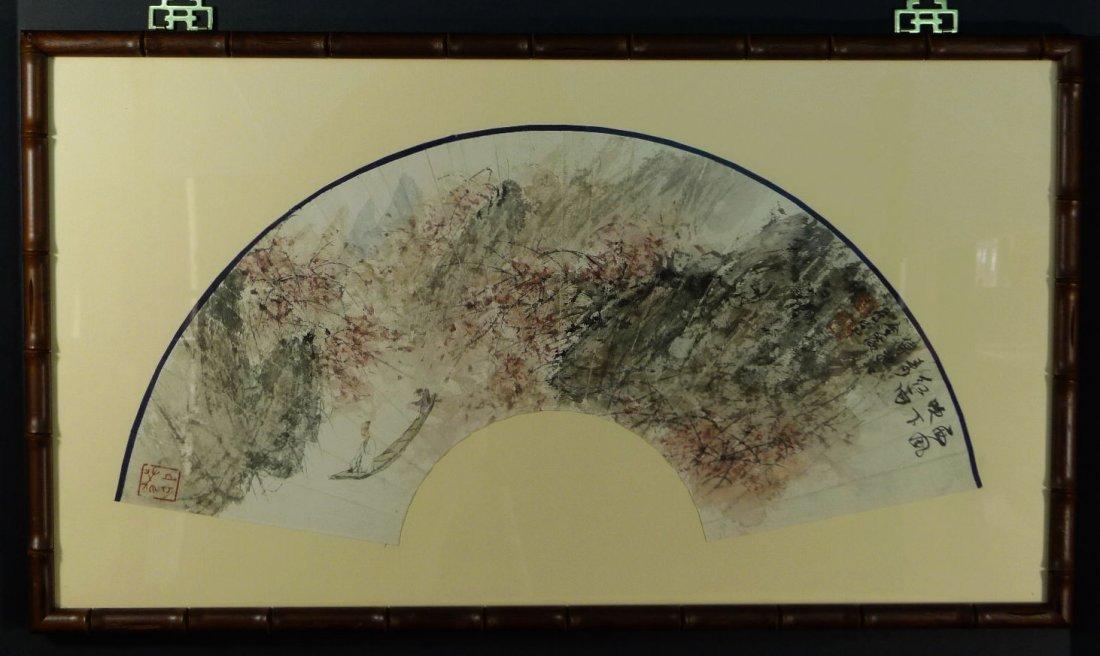 003: Chinese Watercolor Fan Painting by Fu Baoshi