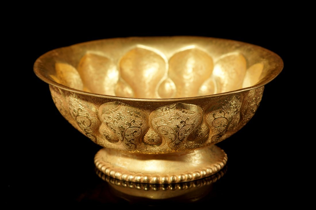 21: Vintage Chinese Carved Gilt Copper Bowl