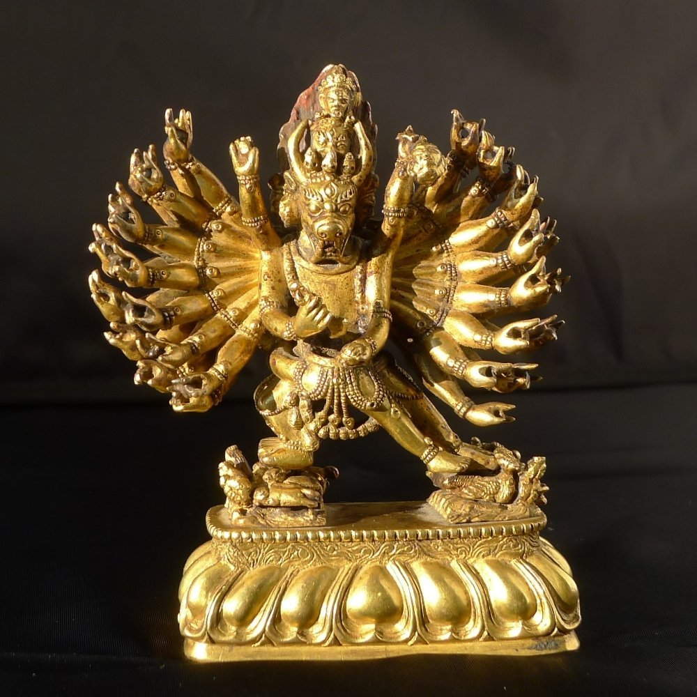 194: Vintage Gilded Bronze Sino Tibet Buddha