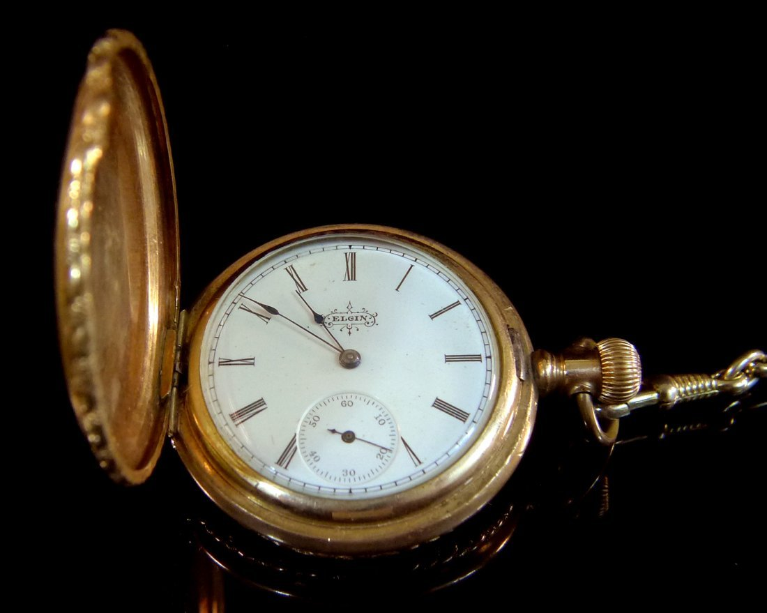 ELGIN WATCH CO 1895 HUNTER CASE POCKET WATCH W. CHAIN R