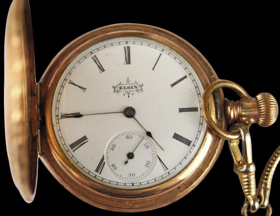 ELGIN WATCH CO 1895 HUNTER CASE POCKET WATCH W. CHAIN R - 2