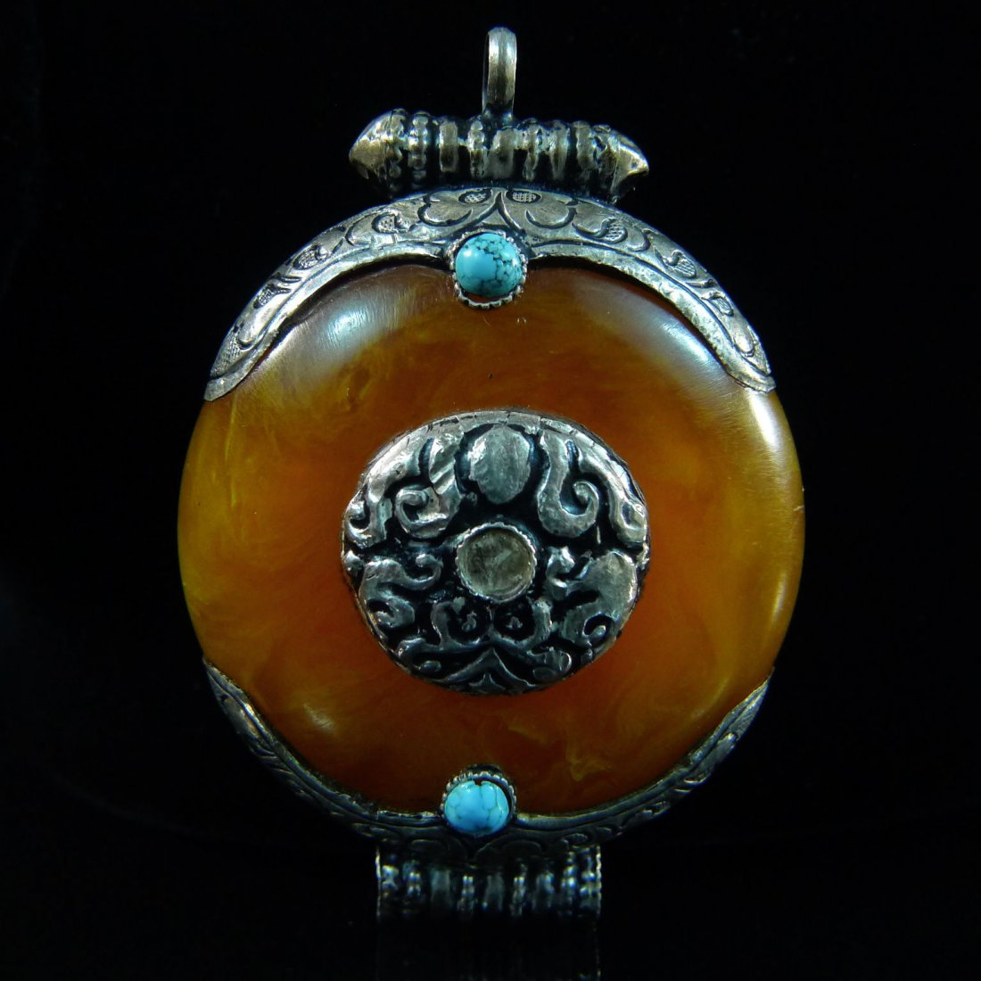 AMBER AND TURQUOISE PENDANT