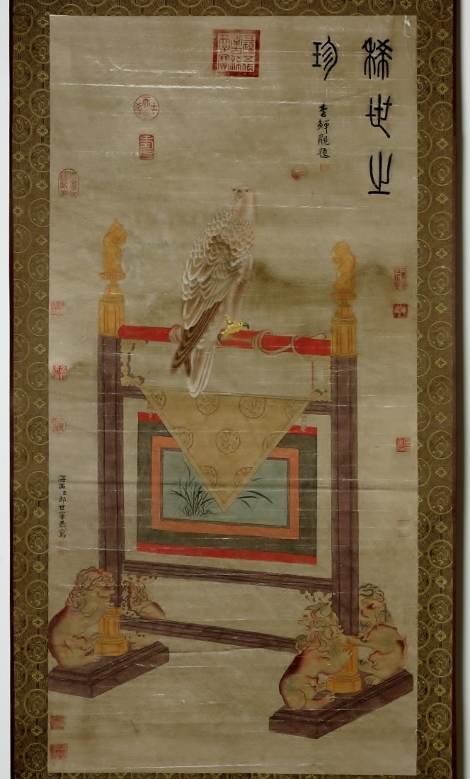 CHINESE SCROLL PAINTING BY LANG SHIH-NING