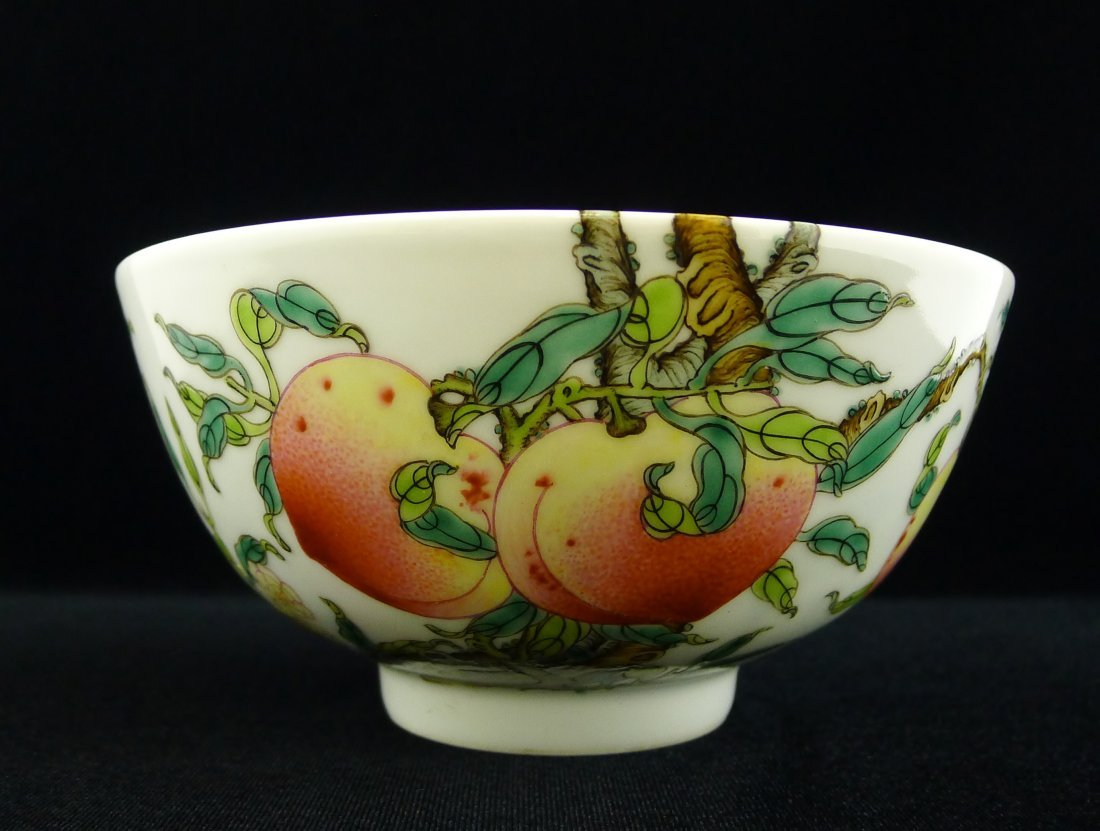 CHINESE FAMILLE ROSE PEACH BOWL