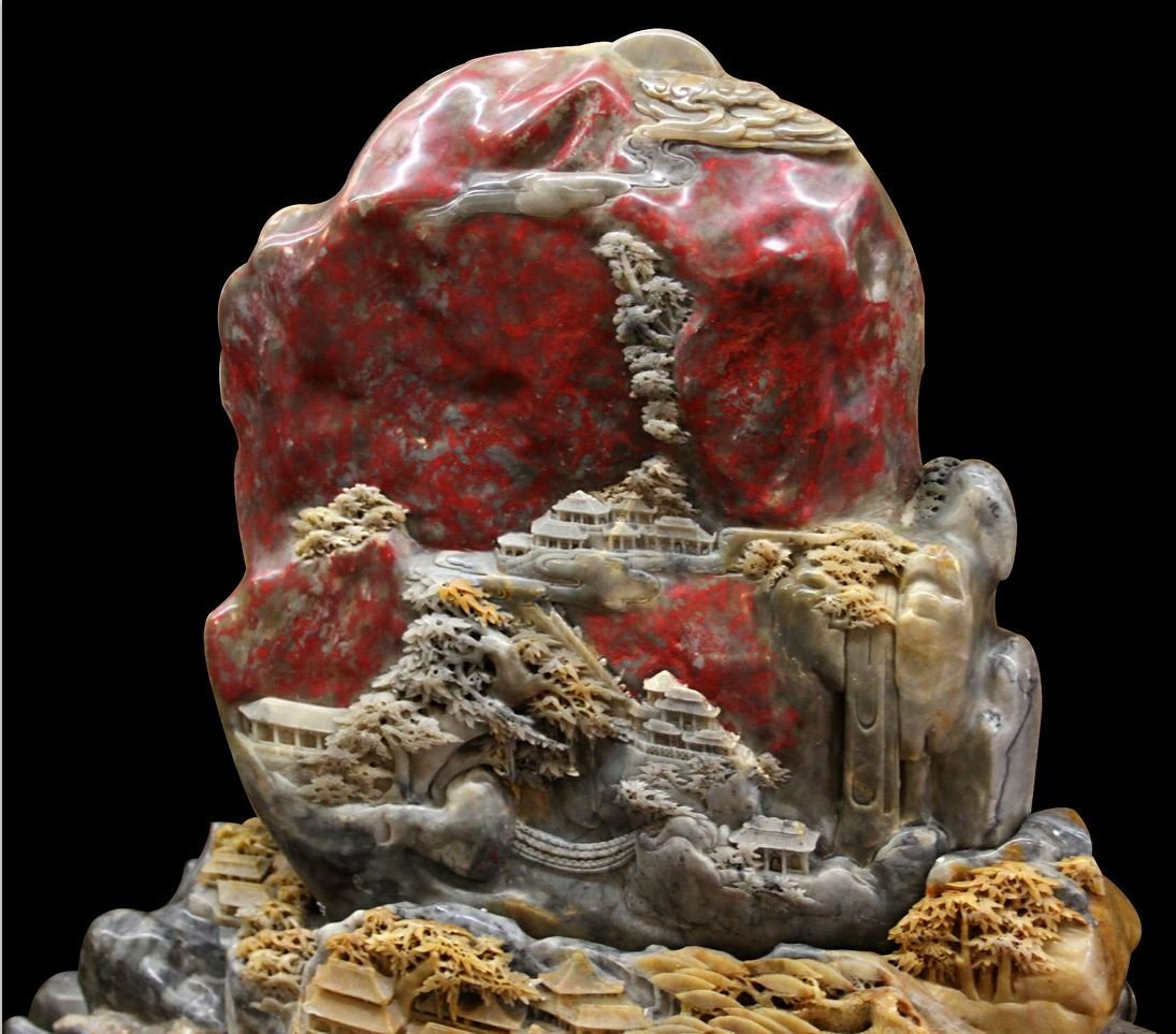 CHINESE SHOU SHAN AND BLOOD STONE